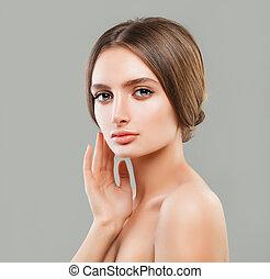 完全な皮, 女, 健康, 若い, skincare, 概念