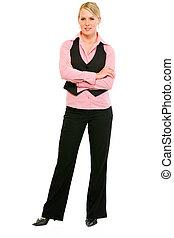 完全な 長さの 肖像画, の, 微笑, ビジネス 女, ∥で∥, 交差させた 腕, 上に, 胸, 隔離された, 白