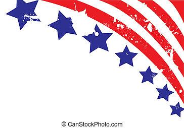 完全地, editable, 美國人, 插圖, 旗, 矢量, 背景