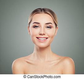 完全, かわいい, 女, 健康, エステ, 若い, 皮膚, 微笑, モデル