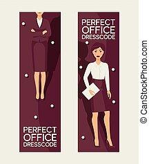 完全, セット, ビジネスオフィス, 女らしい, shirt., ジャケット, clothes., dresscode, 企業である, 優雅である, 女, ベクトル, ワードローブ, かなり, 旗, illustration., clothing., スカート, 基盤, 形式的