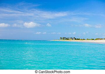 完全, トルコ石, カリブ海, 水, 白い浜