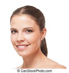 完全, ブルネット, 美しさ, 健康, 若い, skin., クローズアップ, 肖像画