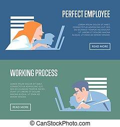 完全, プロセス, 旗, 仕事, 従業員