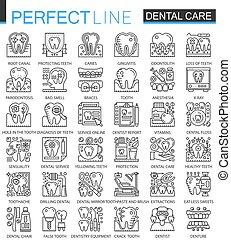 完全, ミニ, スタイル, 概念, アウトライン, 歯医者の, 現代, icons., ストローク, symbols., 薄くなりなさい, イラスト, 線, 心配, set., 線である