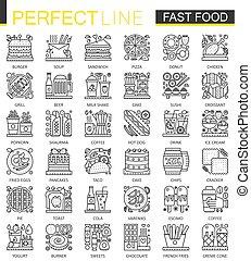 完全, ミニ, スタイル, 概念, アウトライン, 食物, set., 現代, 速い, ストローク, symbols., icons., 線である, イラスト, 線, 薄くなりなさい