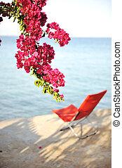 完全, 休む, 椅子, 海