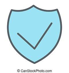 完全, 保護, pictogram, 48x48., ピクセル, 単純である, ベクトル, 薄いライン, セキュリティー, 最小である, アイコン