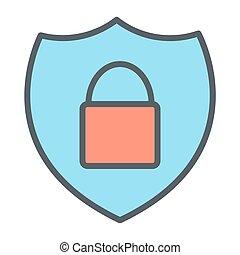完全, 保護, pictogram, 48x48., 錠, ピクセル, 単純である, ベクトル, 薄いライン, セキュリティー, 最小である, アイコン