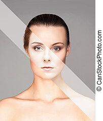 完全, 別, 作られた, concept., 顔, 化粧品, 女性, 手術, プラスチック, faces.