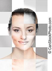 完全, 別, 作られた, concept., 顔, 女性, 手術, プラスチック, faces.