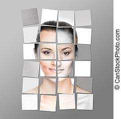 完全, 別, 作られた, concept., collage., 顔, 女性, 手術, プラスチック, ステッカー, faces.