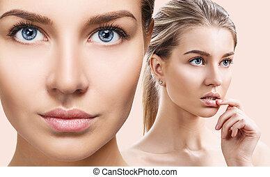 完全, 女, コラージュ, skin., きれいにしなさい, sensual