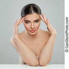 完全, 女, 健康, 若い, 皮膚, モデル