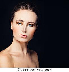 完全, 女, 健康, 顔, かなり, 皮膚, モデル