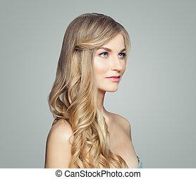 完全, 女, 巻き毛, 健康, hair., 美容術, 若い, 長い間, 待遇, 美顔術, 皮膚, ブロンド, 心配