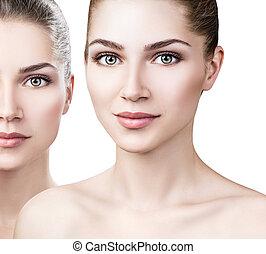 完全, 女, make-up., 若い, きれいにしなさい, 皮膚