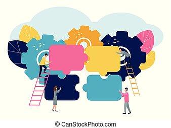 完全, 小片, グループ, 成功, 巻き込まれた, concept., サポート, ファインド, 考え, ∥あるいは∥, チーム, ビジネスマン, ひらめき, 困惑
