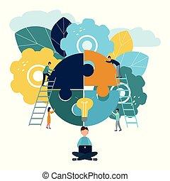 完全, 小片, 概念, グループ, 成功, 巻き込まれた, 困惑, ファインド, 考え, ∥あるいは∥, チーム, ビジネスマン, ひらめき, サポート