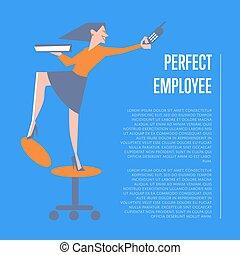 完全, 従業員, 女, 旗, ビジネス