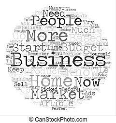 完全, 概念, 単語, ビジネス, 始めなさい, テキスト, いかに, 背景, 家, 基づかせている, 雲