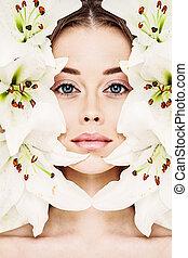 完全, 概念, 顔, 美しさ, 若い, 健康, flowers., 待遇, 皮膚, 新たに, モデル, エステ, 心配