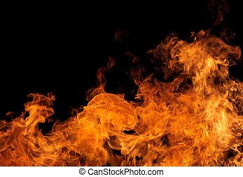 完全, 火, 上に, 黒い背景