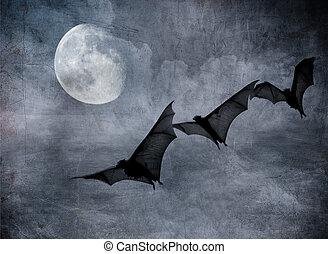 完全, 空, ハロウィーン, 曇り, 暗い, コウモリ, 背景