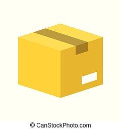 完全, 箱, 平ら, ベクトル, デザイン, ピクセル, アイコン