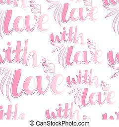 完全, 箱, 贈り物, パターン, バレンタイン, seamless, 日, 招待, birthday, 日付, 日記, を除けば, lettering., デザイン