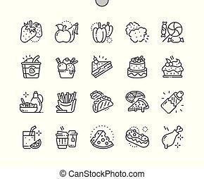 完全, 網アイコン, 食物, 30, 2x, ピクセル, well-crafted, ベクトル, 格子, 薄くなりなさい, グラフィックス, apps., 線