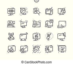 完全, 網アイコン, tv, 30, 2x, ピクセル, well-crafted, ベクトル, 格子, 薄くなりなさい, グラフィックス, apps., 線