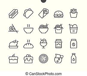 完全, 網, グラフィックス, 48x48, pictogram, 単純である, 24x24, アイコン, apps, 食物, well-crafted, ベクトル, 格子, stroke., editable, 準備ができた, ui, 線, ピクセル, 最小である, 薄くなりなさい
