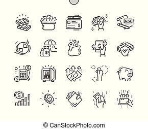 完全, 網, ベクトル, アイコン, お金, 30, 2x, well-crafted, apps., 格子, 薄くなりなさい, グラフィックス, 線, ピクセル