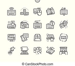 完全, 網, ベクトル, アイコン, キーボード, 30, 2x, well-crafted, apps., 格子, 薄くなりなさい, グラフィックス, 線, ピクセル