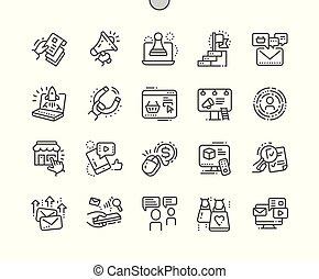 完全, 網, ベクトル, アイコン, マーケティング, 30, 2x, well-crafted, apps., 格子, 薄くなりなさい, グラフィックス, 線, ピクセル