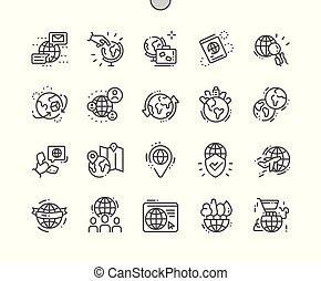 完全, 網, ベクトル, アイコン, 地球, 30, 2x, well-crafted, apps., 格子, 薄くなりなさい, グラフィックス, 線, ピクセル