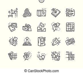 完全, 網, ベクトル, アイコン, 30, 2x, well-crafted, apps., ゲーム, 薄くなりなさい, グラフィックス, グリッド線, ピクセル