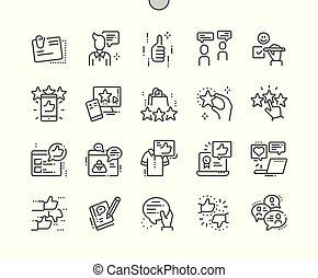 完全, 網, ベクトル, アイコン, 30, 2x, well-crafted, apps., 格子, 薄くなりなさい, グラフィックス, 証明書, 線, ピクセル