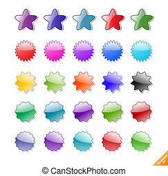 完全, 網, elements., 作成される, テキスト, コレクション, icons., gloassy, 付け加える, 影, blends., ∥あるいは∥