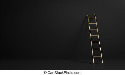 完全, 置くこと, コピースペース, イラスト, 暗い, スタイル, ∥あるいは∥, 段ばしご, 背景, 3d, ...