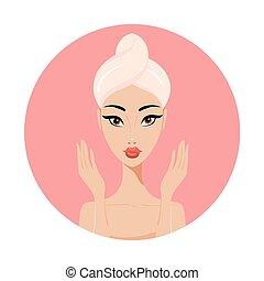 完全, 美しさスパ, 皮膚, 顔, アジア人, 美しい, 概念, 女, skincare
