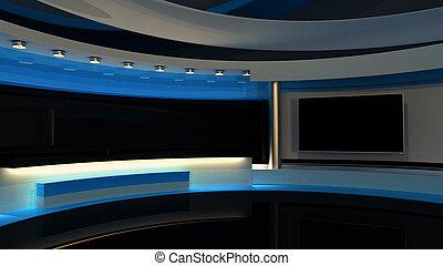 完全, 背景, スクリーン, rendering., chroma, 青, ビデオ, studio., production., ショー, tv, ∥あるいは∥, 緑のキー, ニュース, wall., (どれ・何・誰)も, 3d, 写真, .tv