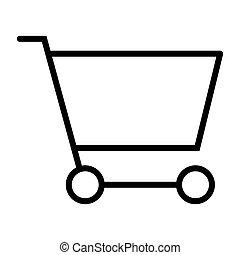 完全, 買い物, pictogram, 48x48., カート, 単純である, ベクトル, 薄いライン, ピクセル, 最小である, アイコン