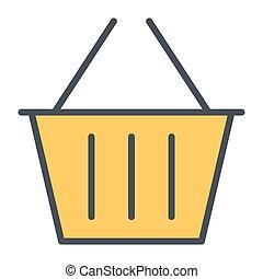 完全, 買い物, pictogram, 48x48., 単純である, ベクトル, 薄くなりなさい, バスケット, 線, ピクセル, 最小である, アイコン