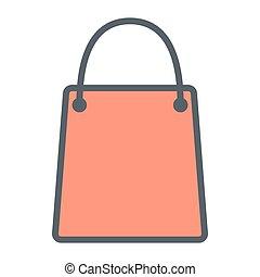 完全, 買い物, pictogram, 48x48., 単純である, 袋, ベクトル, 薄いライン, ピクセル, 最小である, アイコン