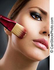 完全, 適用, cosmetic., 基盤, make-up., メーキャップ