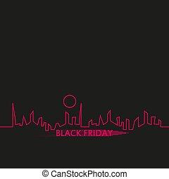 完全, 都市, スタイル, 平ら, 抽象的, 金曜日, イラスト, sale., ベクトル, 黒い背景, skyline., 白, 旗, リボン