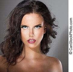 完全, 魅力的, 女, 自然, 健康, 構造, 若い, skin., きれいにしなさい