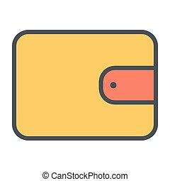 完全, pictogram, 48x48., 単純である, 札入れ, ベクトル, 薄いライン, ピクセル, 最小である, アイコン